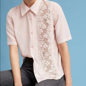 Tracy Reese pale pink blouse with nude lace front